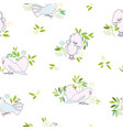 white pattern with pink dove and branch vector image vector image