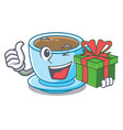 with gift milk tea in character the shape vector image vector image