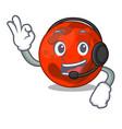 with headphone mars planet mascot cartoon vector image