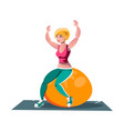 woman working out on fitness ball vector image vector image