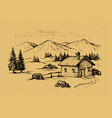 wood cabin in mountains vector image