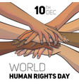 world human rights day concept background cartoon vector image