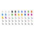 50 document formats icon set vector image