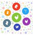 7 rooster icons vector image vector image