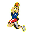Basketball Player Shooting Jumping Ball vector image vector image