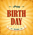 Birthday wishes as retro poster template vector image vector image