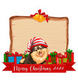 blank wooden board with merry christmas 2020 font vector image