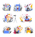 blogger profession or hobby isolated icons mobile vector image