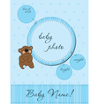 blue baby announcement card vector image vector image
