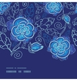 blue night flowers horizontal frame seamless vector image vector image