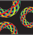 colorful lines in 3d on black background vector image vector image
