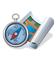 compass and map icon vector image vector image