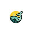 creative blue dolphin whale logo vector image