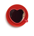 cup of coffee in the form of a heart creative 3d vector image vector image