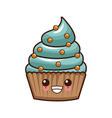 cupcake delicious dessert kawaii cute cartoon vector image vector image