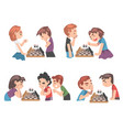 cute children playing chess game set boys and vector image vector image