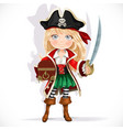 cute pirate girl with cutlass and treasure chest vector image vector image