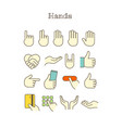 different thin line color icons set hands vector image