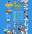 diy work tools poster for home repair vector image vector image