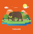 elephant with nature in thailand graphic design vector image