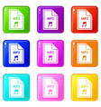 file mp3 icons 9 set vector image vector image