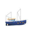 fishing trawler isolated on white icon vector image vector image
