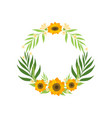 floral wreath with sunflowers and leaves circle vector image vector image