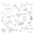 Forex market hand drawn background with vector image