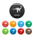 gallimimus icons set color vector image vector image