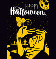 halloween banner with zombie hand and grave vector image