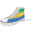 hand draw modern sport shoes with Gabon flag vector image vector image