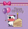 happy birthday card with cute cow vector image vector image