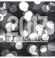 happy new year 2017 on grayscale bokeh circle vector image vector image