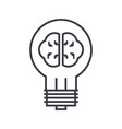 idea lamp with brain line icon sign vector image