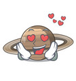 in love planet saturn in the cartoon form vector image