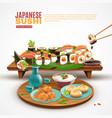 japanese sushi background vector image vector image