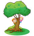 Kids hiding at the big tree vector image vector image