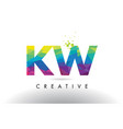 kw k w colorful letter origami triangles design vector image vector image