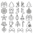 line art black and white 25 christmas elements set vector image