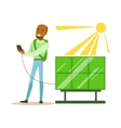Man Charging His Smartphone From Solar Panel vector image