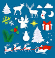 merry christmas set in paper vector image