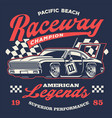 old vintage racing car shirt design vector image