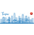 Outline Taipei skyline with blue landmarks vector image