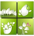 paper leaves on green background vector image vector image