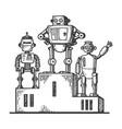 robots on sport pedestal engraving vector image vector image