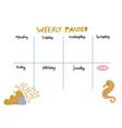 school schedule timetable for kids empty template vector image vector image