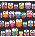 Seamless pattern - bright colorful owls on black vector image