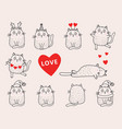 set different cats in festive clothes outline vector image vector image