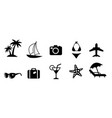 set of black flat travel and vacation icons vector image