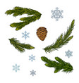 set of christmas and new year decorations fir vector image